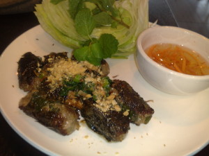 Beef Wrapped in Betel Leaves with a delicious dipping sauce