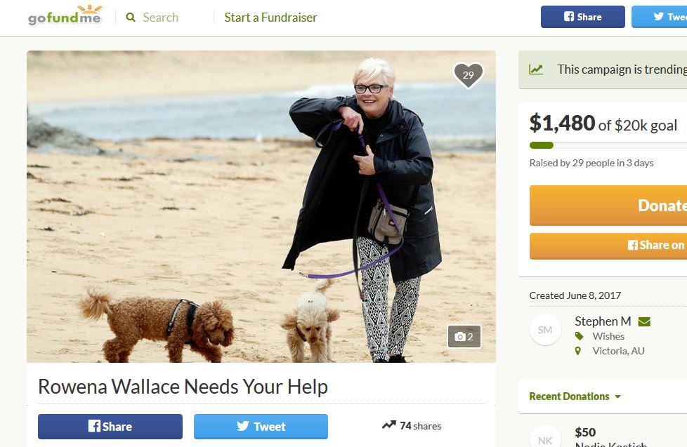 gofundme_rowena_wallace_fundraising_brisbane_wonthaggi_dollars_earnt