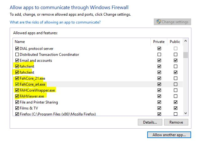 Fahclient folding@home windows firewall settings
